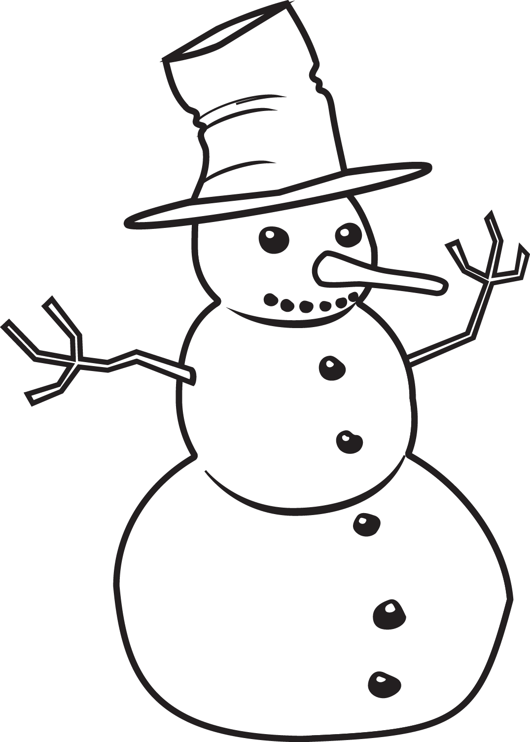 1075x1504 Snowman Clipart In Black And White For Free Clip Art