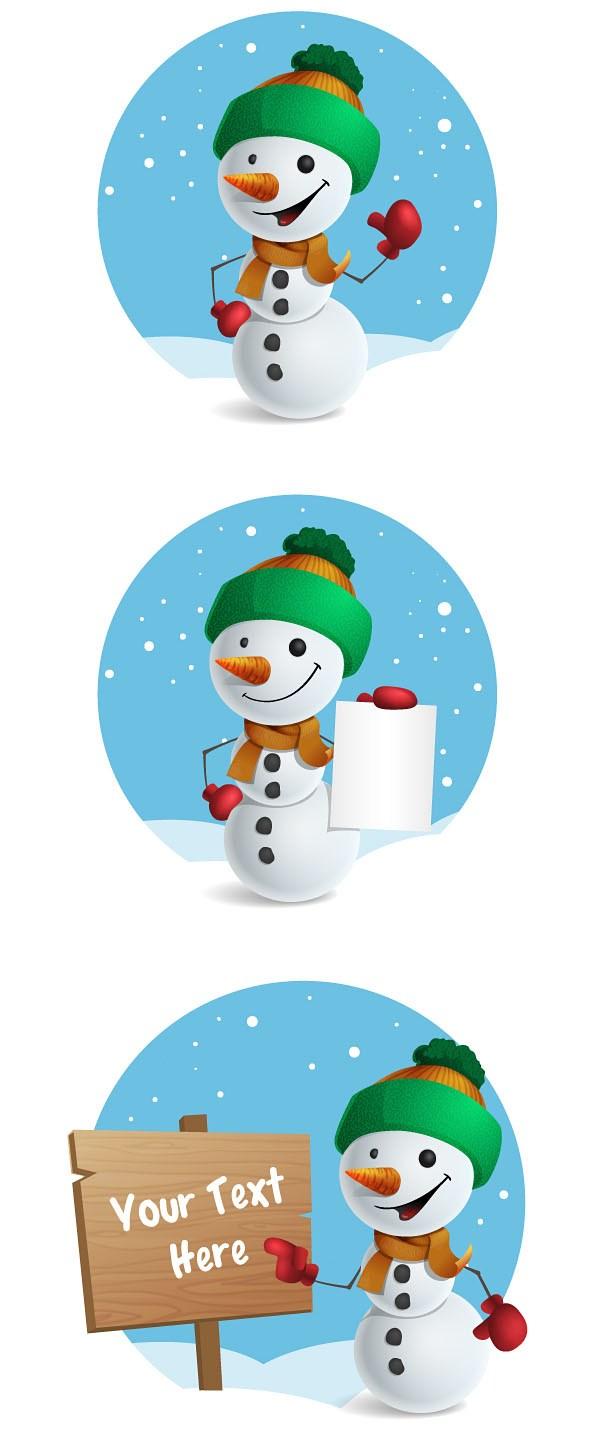 594x1430 Free Snowman Vector Character Set