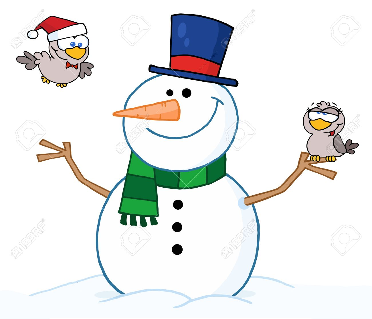 1300x1117 Friendly Snowman Two Cute Birds Free Cliparts