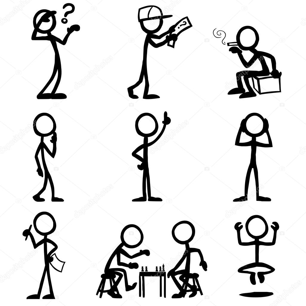 1024x1024 Set Of Stick Figures, Thinking People Stock Vector Tobybridson