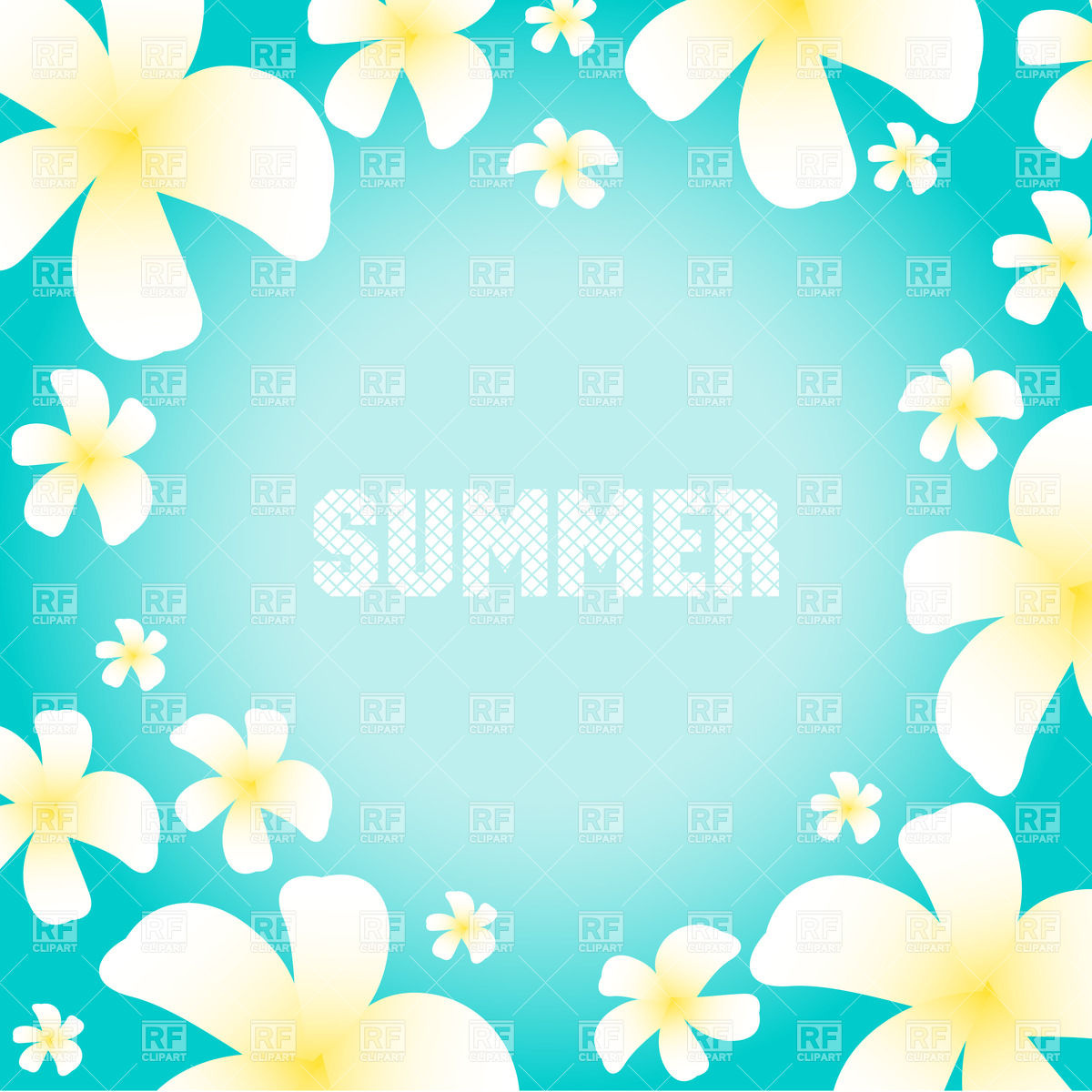 1200x1200 Blue Summer Background With Frangipani Flowers Royalty Free Vector