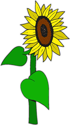 300x531 Free Happy Sunflower Clipart Image