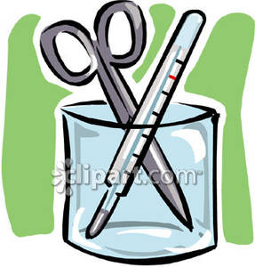 287x300 Pair Of Surgical Scissors And A Glass Thermometer In A Cup