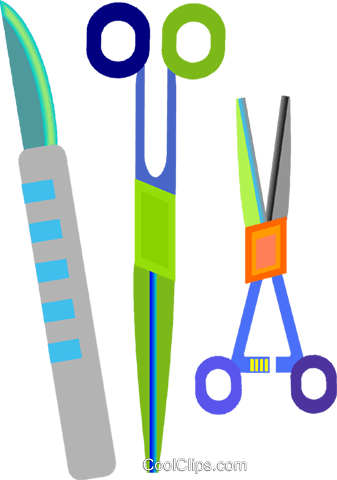 337x480 Surgical Equipment, Scissor, Scalpel Royalty Free Vector Clip Art