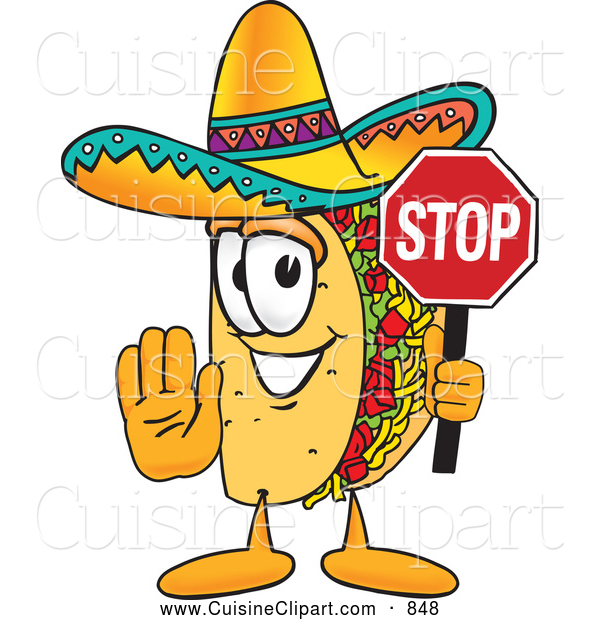 600x620 Cuisine Clipart Of A Smiling Taco Mascot Cartoon Character Holding
