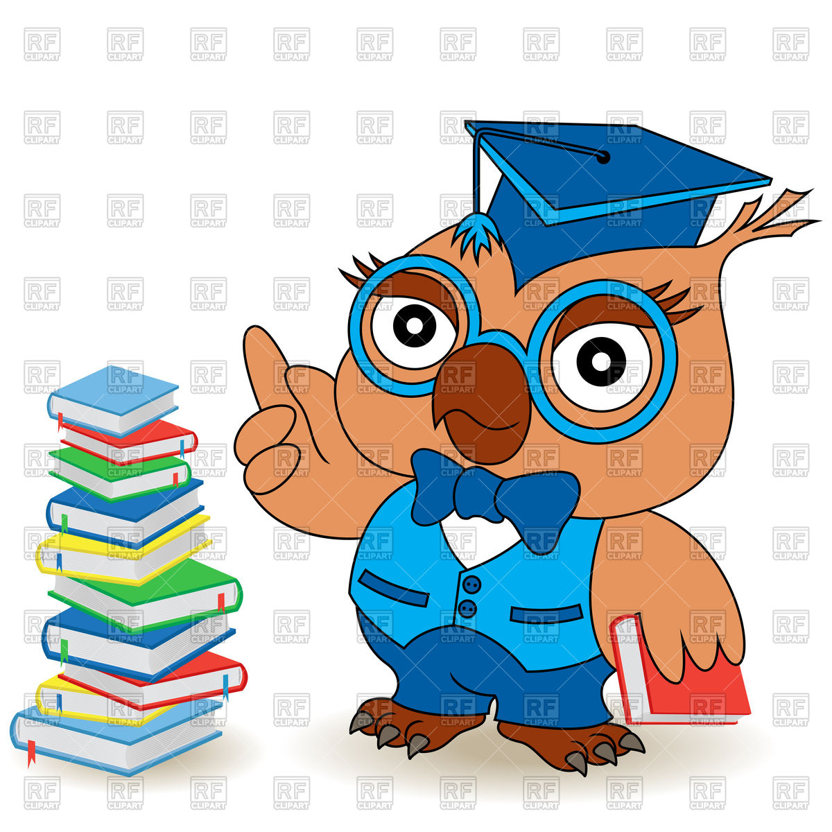 1200x1200 Serious Teacher Owl In Glasses Royalty Free Vector Clip Art Image
