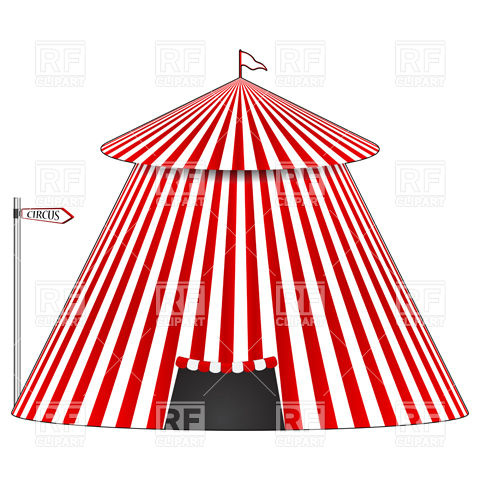 480x480 Stripy Circus Tent Royalty Free Vector Clip Art Image