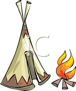 252x300 Free Clipart Image A Fire Outside A Tent