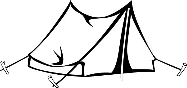 600x284 Free Tent Clipart Black And White Image
