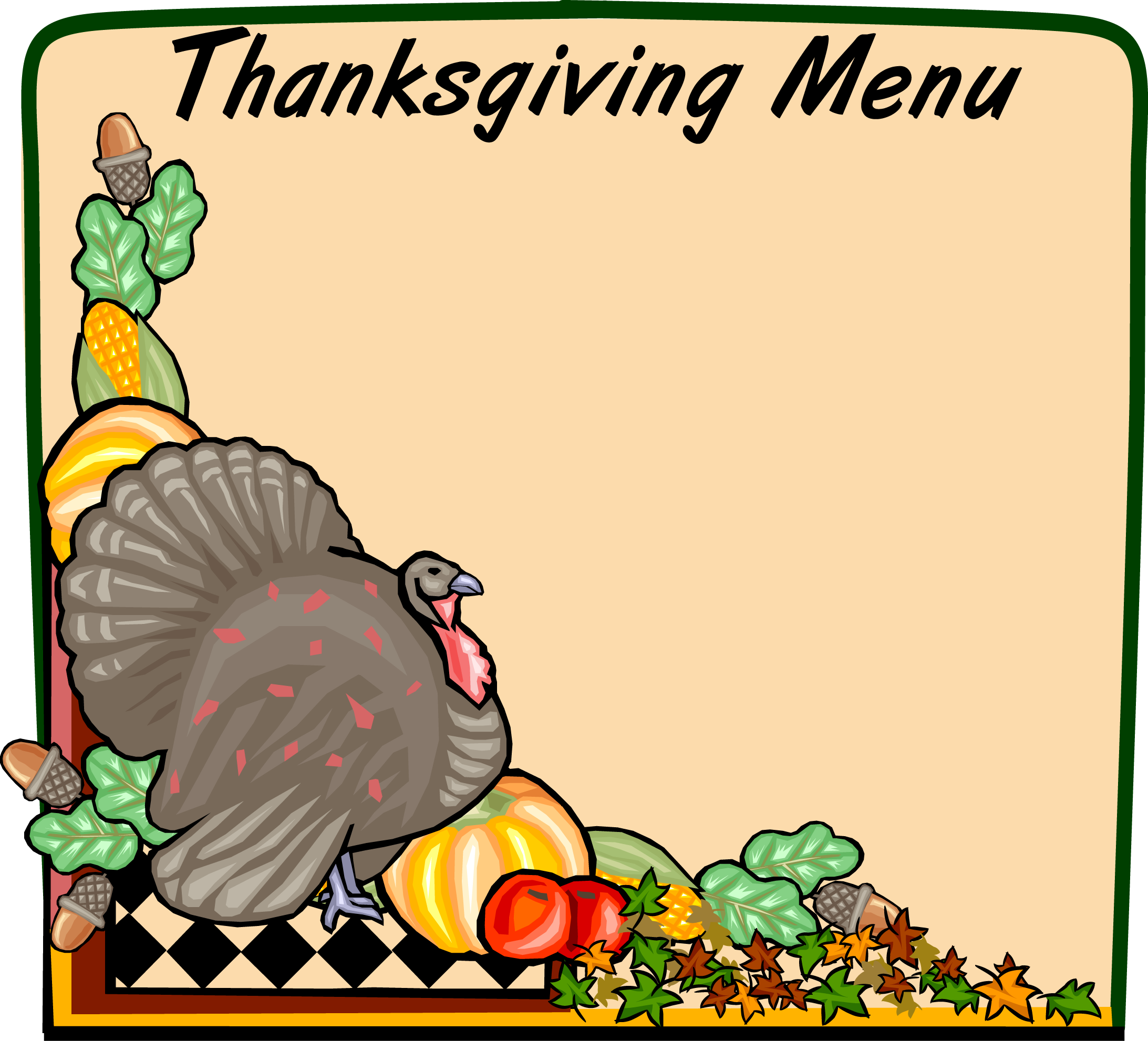 2185x1982 Free Thanksgiving Menu Clip Art