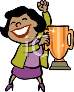 240x300 Colorful Cartoon Of An Ethnic Woman Holding A Trophy Cup