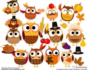 340x270 Thanksgiving Owls Owl Turkey Pilgrim Indian Clip Art Clipart