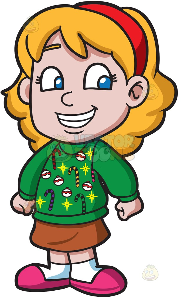624x1024 A Bright Girl In An Ugly Christmas Sweater Cartoon Clipart