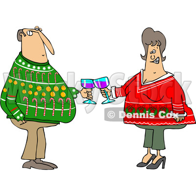400x400 Of A Cartoon Chubby White Couple Holding Glasses Of Wine