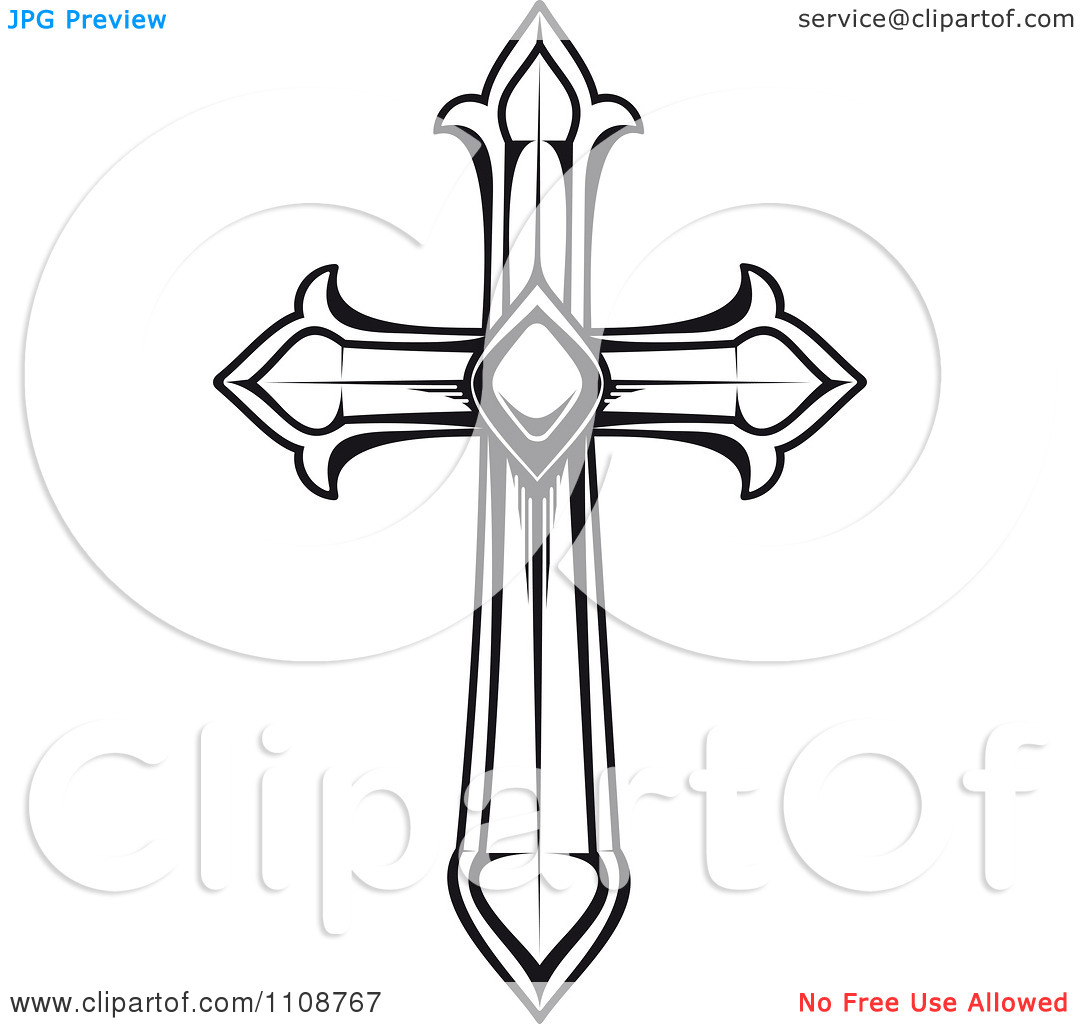1080x1024 Free Cross Black And White Clipart