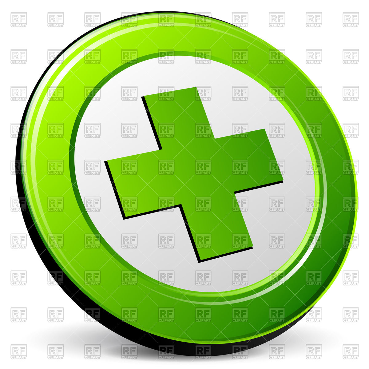 1200x1200 Green Cross Icon Royalty Free Vector Clip Art Image