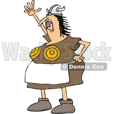 400x400 Cartoon Clipart Of A Chubby Male Viking Holding Up A Short Sword
