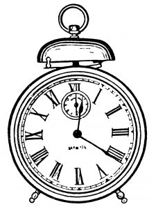 225x300 Free Vintage Alarm Clock Clip Art Illustration Fonts
