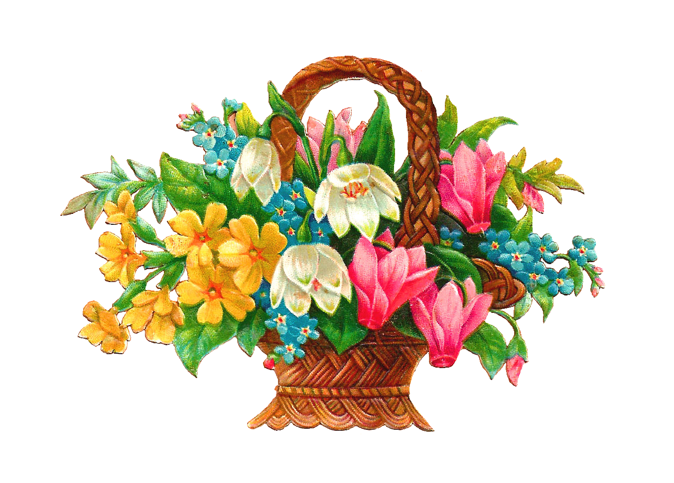 1353x971 Antique Images Free Flower Basket Clip Art 2 Wicket Baskets Full