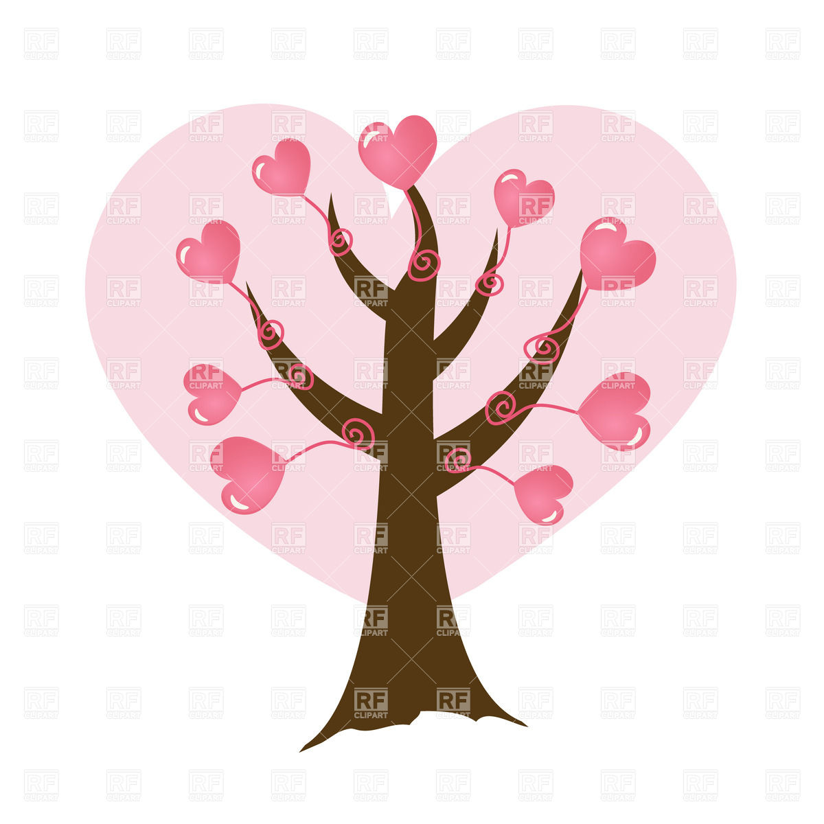 1200x1200 Abstract Cartoon Tree With Heart Look Foliage Royalty Free Vector