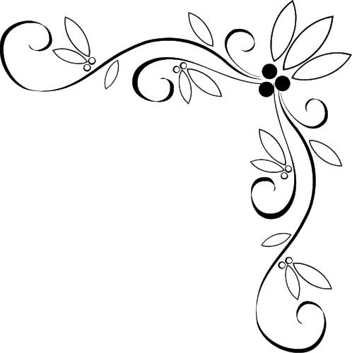 498x500 Simple Flower Corner Clipart