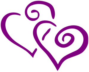 299x240 Dark Purple Heart Wedding Clip Art