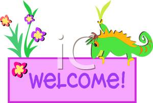 300x201 Welcome Sign With A Chameleon And Flowers
