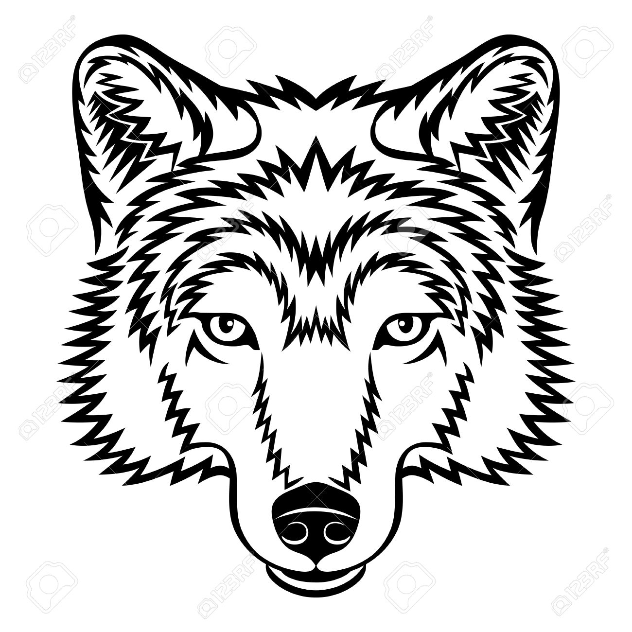 1300x1300 Wolf Face Black And White Clipart
