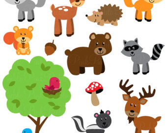 340x270 Watercolor Woodland Animals Clipart Cute Animal Clip Art Set