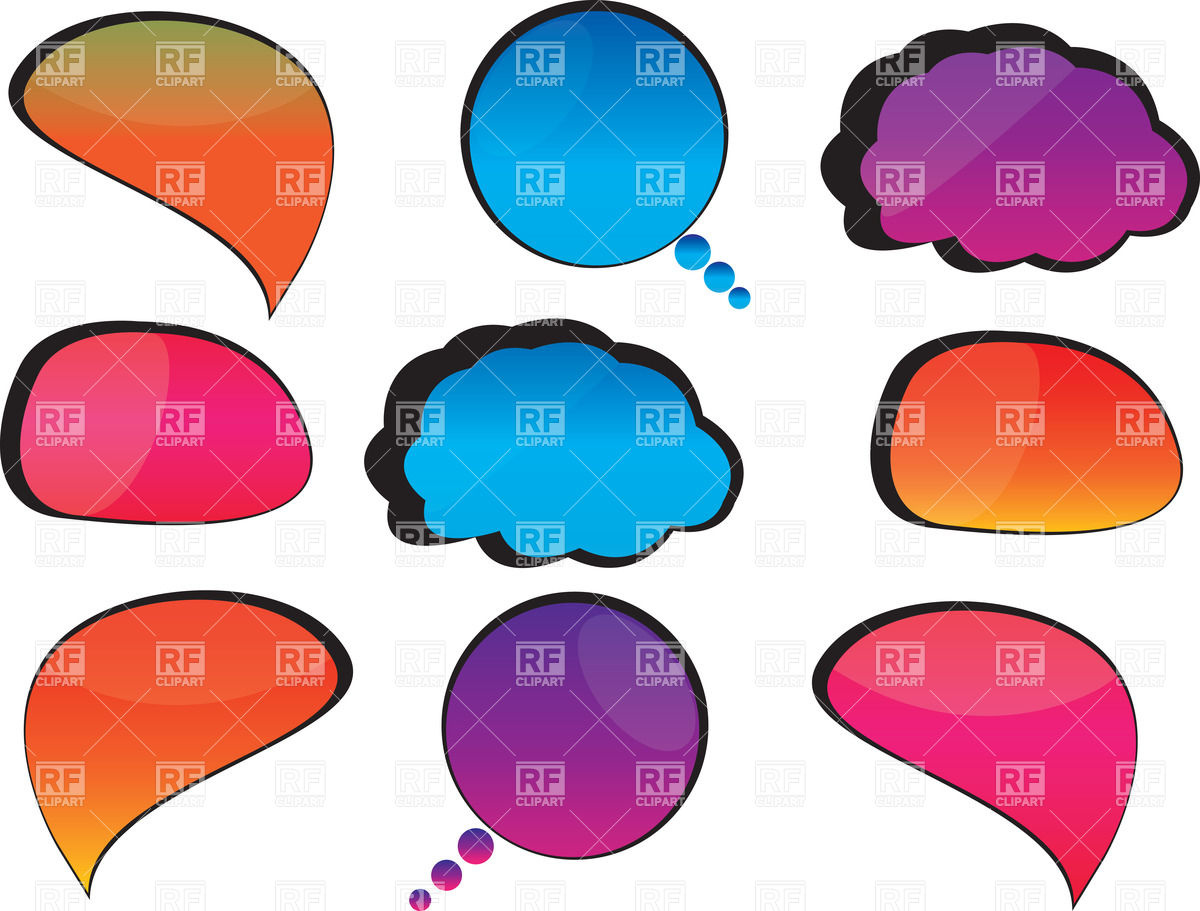 1200x911 Rounded Speech Bubbles
