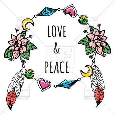 400x400 Hand Drawn Boho Wreath And Lettering Love And Peace Royalty Free
