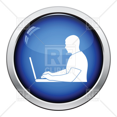 400x400 Glossy Button Design Of Writer