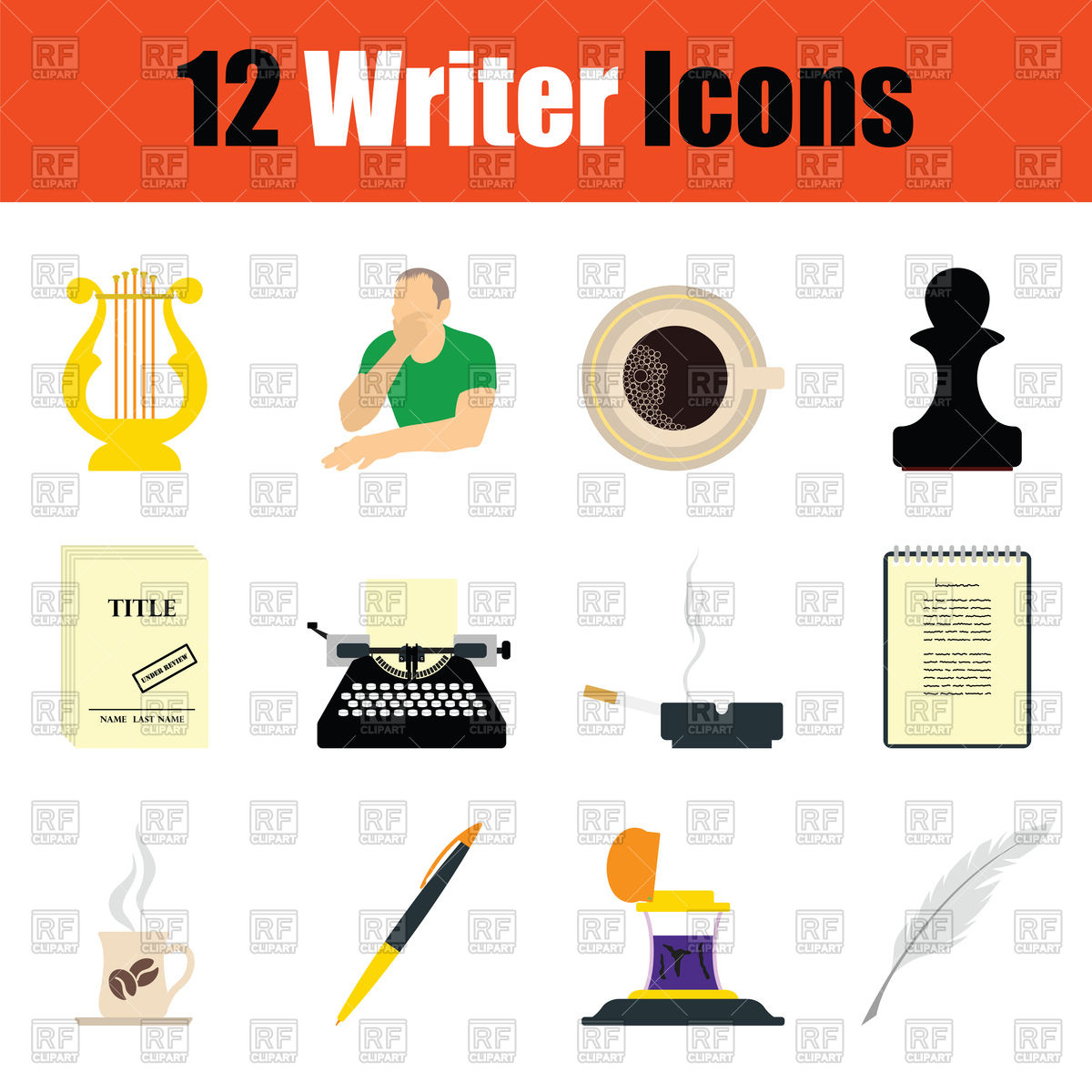 1200x1200 Writer Icon Set. Color Flat Design. Royalty Free Vector Clip Art