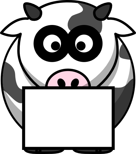 528x598 Cow With Box 2 Clip Art