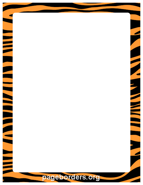 470x608 Orange and Black Zebra Print Border Clip Art, Page Border, and