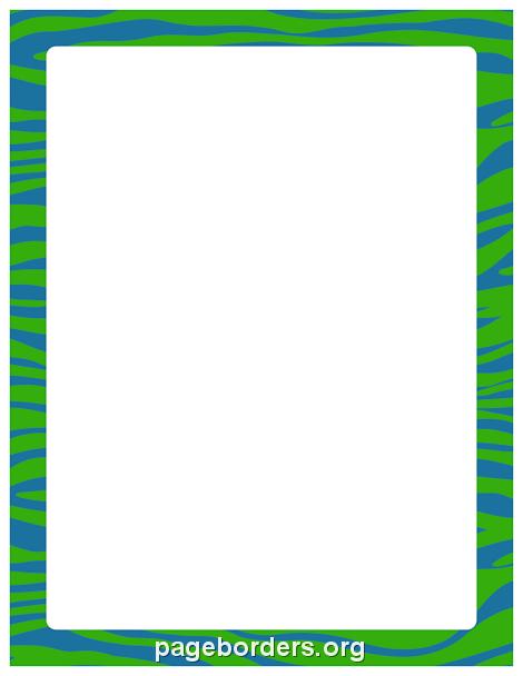 470x608 Blue Green Zebra Print Border Clip Art, Page Border,