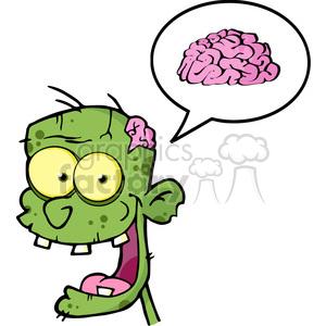 300x300 Royalty Free 5071 Zombie Head Cartoon Character And Speech Bubble