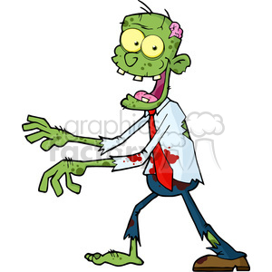 300x300 Royalty Free 5076 Cartoon Zombie Walking With Hands In Front