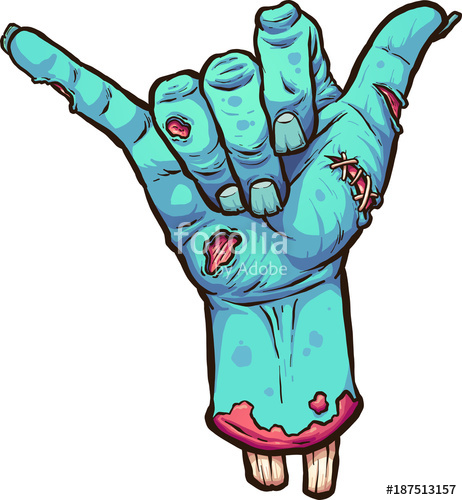 462x500 Severed Zombie Hand Making The Hang Loose Hand Sign. Vector Clip