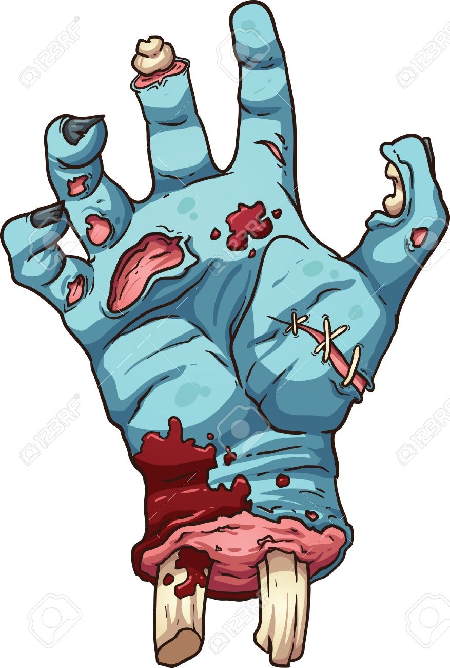 877x1300 Zombie Hand Vector Clip Art Illustration With Simple Gradients