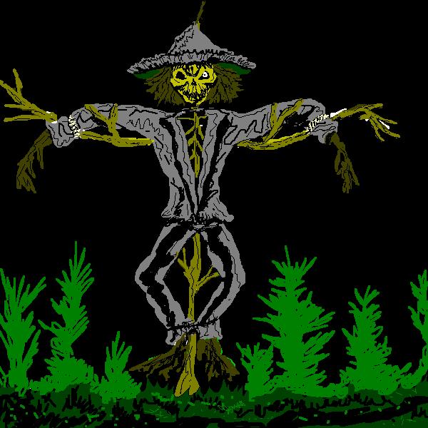600x600 Free Scary Zombie Style Scarecrow Clip Art
