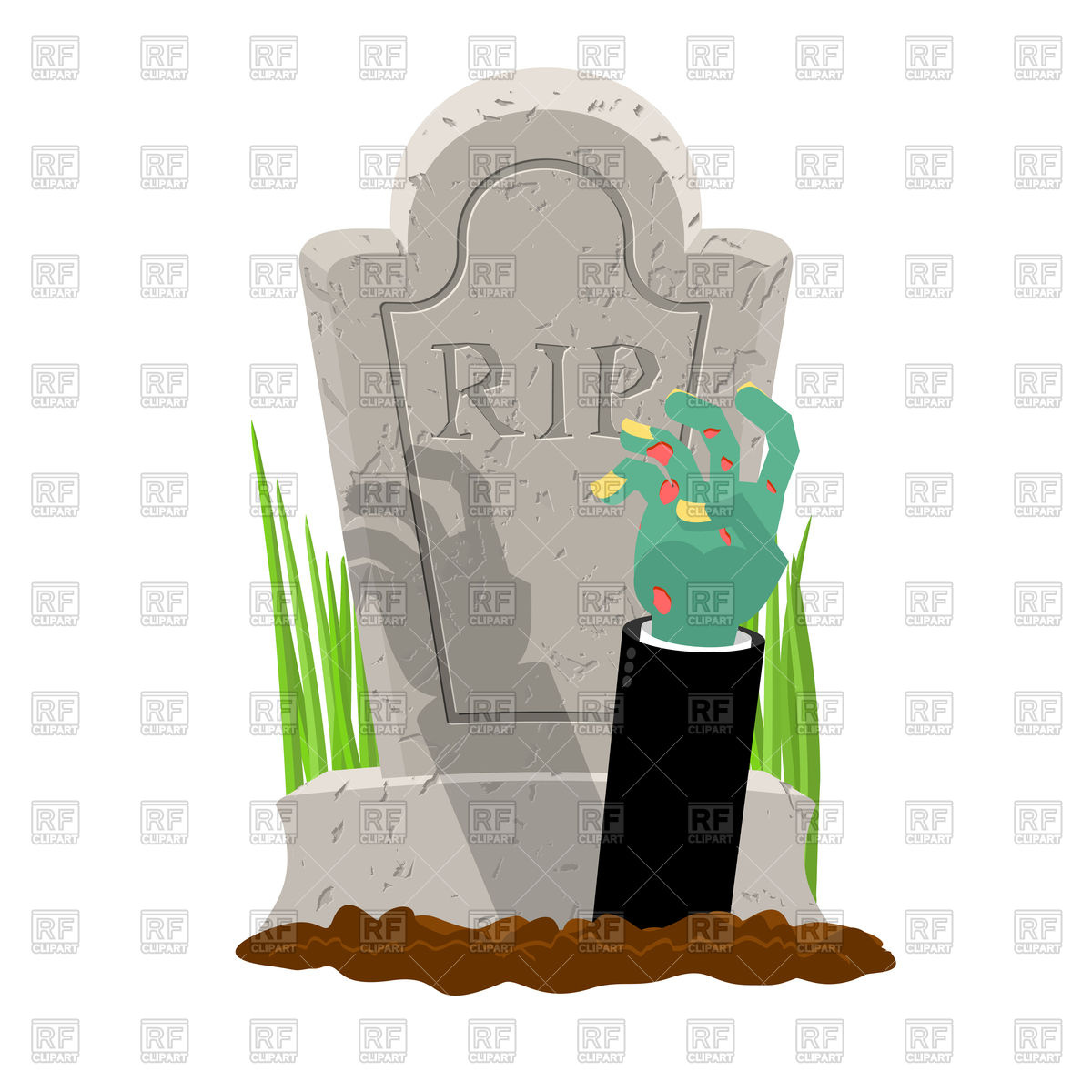 1200x1200 Grave And Hand Of Zombie. Halloween. Royalty Free Vector Clip Art