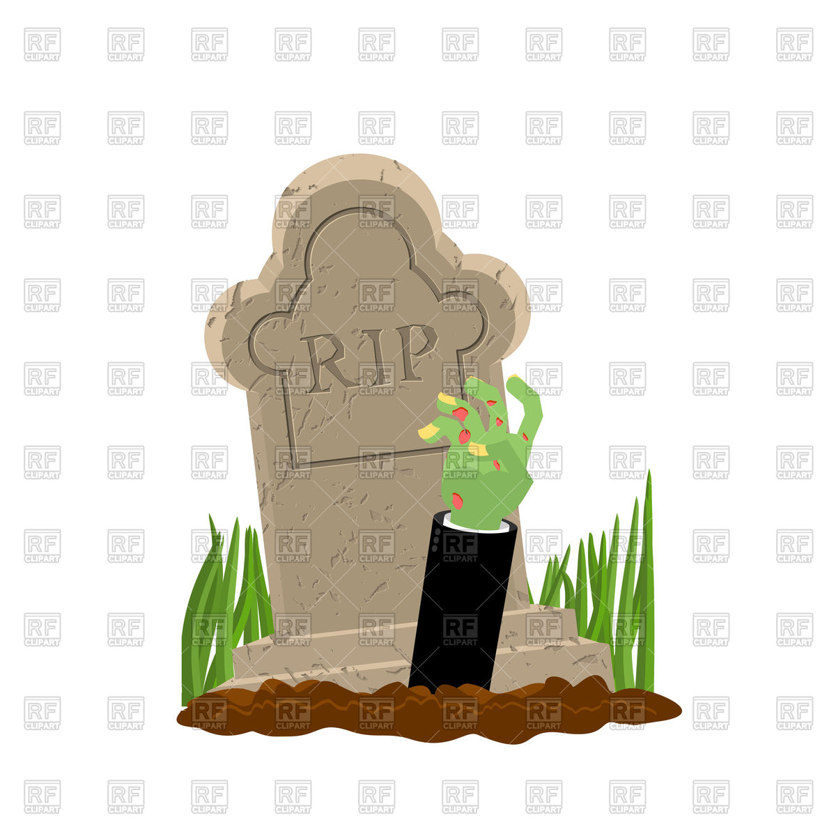 1200x1200 Halloween. Grave And Hand Of Zombie. Royalty Free Vector Clip Art