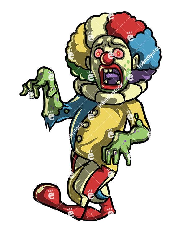 585x755 Creepy Scary Clown Zombie Vector Clipart Royalty Free Vector