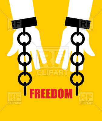 337x400 Freedom Poster, Broken Fetters Royalty Free Vector Clip Art Image