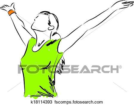 450x355 Clipart Of Girl Breathing Freedom Illustration K18114393