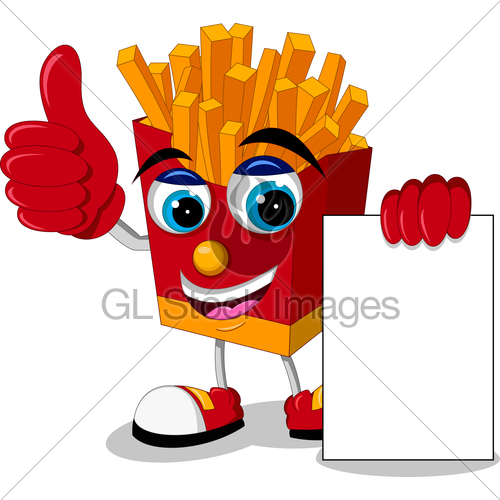 500x500 French Fries Cartoon Thumb Up With Blank Sign Gl Stock Images