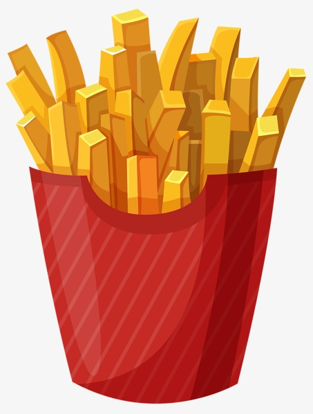 453x600 Cartoon Painted Golden Fries, French Fries, Golden, Cartoon Png