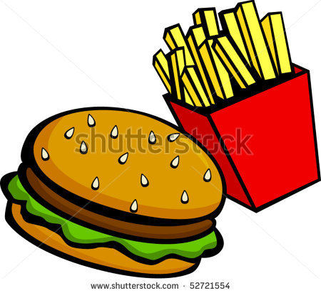 450x412 Hamburger And French Fries Clipart