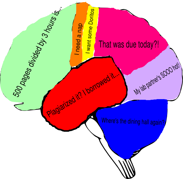 600x585 Freshman Fear Brain 5 Clip Art